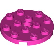 Dark Pink Plate, Round 4 x 4 with Hole  6133808