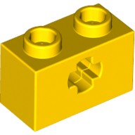 Yellow Technic, Brick 1 x 2 with Axle Hole  4114668 or 4142866 or 4216823 or 4233484 or 6206240