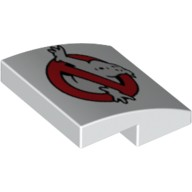 White Slope, Curved 2 x 2 No Studs with Ghostbusters Logo Pattern  6092268