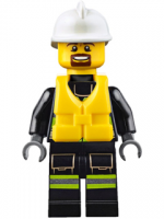 Fire - Reflective Stripes with Utility Belt and Flashlight, Life Preserver, White Fire Helmet, Brown Moustache and Goatee