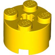 Yellow Brick, Round 2 x 2 with Axle Hole  614324