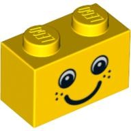 Yellow Brick 1 x 2 with Eyes and Freckles and Smile Pattern  4569078