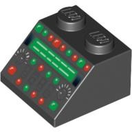 Black Slope 45 2 x 2 with Control Panel with Red and Green Lamps Pattern  4551168