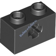Black Technic, Brick 1 x 2 with Axle Hole  4114294 or 4233487 or 6178922