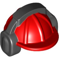Red Minifig, Headgear Helmet Construction with Black Ear Protector / Headphones Pattern  6100921