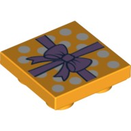 Bright Light Orange Tile, Modified 2 x 2 Inverted with Gift Wrap Medium Lavender Bow and White Dots Pattern  6133238