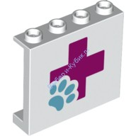 White Panel 1 x 4 x 3 with Side Supports - Hollow Studs with Hospital Magenta Cross with Paw Pattern  6148268