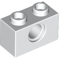 White Technic, Brick 1 x 2 with Hole  370001