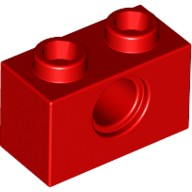 Red Technic, Brick 1 x 2 with Hole  370021