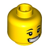 Yellow Minifig, Head Female, Black Eyebrows, Peach Lips, Wide Smile with Teeth Pattern  6223231