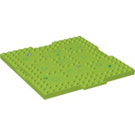 Lime Brick, Modified 16 x 16 x 2/3 with 1 x 4 Indentations and 1 x 4 Plate with Grass and Rocks Pattern  6057715
