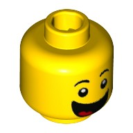 Yellow Minifig, Head with Black Eyebrows, Wide Open Smile with Tongue Pattern  6223431