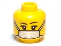 Yellow Minifig, Head Female with Black Thin Eyebrows, Eyelashes and White Surgical Mask Pattern - Blocked Open Stud  4649940