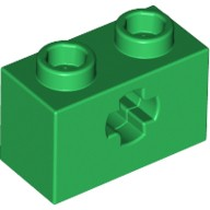 Green Technic, Brick 1 x 2 with Axle Hole  4113840 or 4233489 or 6206248