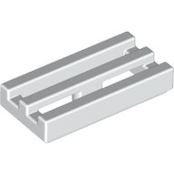 White Tile, Modified 1 x 2 Grille with Bottom Groove / Lip  241201