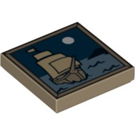 Dark Tan Tile 2 x 2 with Sailing Ship and Moon Pattern  4633881