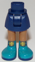Dark Blue Mini Doll Friends Hips and Skirt, Medium Dark Flesh Legs and Dark Turquoise Boots with Gold Buckles Pattern  6212372