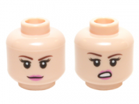 Light Flesh Minifig, Head Dual Sided Female Dark Brown Eyebrows, Dark Pink Lips with Closed Mouth Smile / Open Mouth Lip Raised Pattern (Penny) - Stud Recessed  6122885