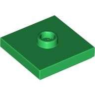 Green Plate, Modified 2 x 2 with Groove and 1 Stud in Center (Jumper)  4565321