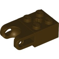 Dark Brown Technic, Brick Modified 2 x 2 with Ball Receptacle Wide and Axle Hole  6046942