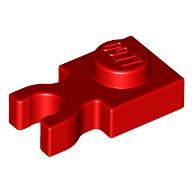 Red Plate, Modified 1 x 1 with Clip Vertical - Type 4 (thick open O clip)  4588003