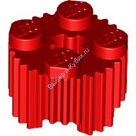 Red Brick, Round 2 x 2 with Flutes (Grille) and Axle Hole  4612108 or 4650646