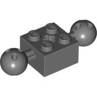Dark Bluish Gray Technic, Brick Modified 2 x 2 with Balls with Holes and Axle Hole  6065816