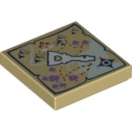 Tan Tile 2 x 2 with Elven Key and Map Pattern  6104425
