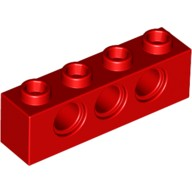 Red Technic, Brick 1 x 4 with Holes  370121