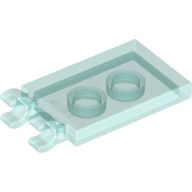 Trans-Light Blue Tile, Modified 2 x 3 with 2 Clips (thick open O clips)  4603191