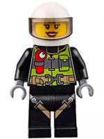 Fire - Reflective Stripes with Utility Belt and Flashlight, White Helmet, Trans-Black Visor, Peach Lips Open Mouth Smile