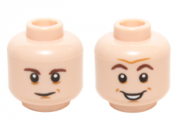 Light Flesh Minifig, Head Dual Sided Dark Brown Eyebrows, Chin Dimple with Smile / Open Mouth Smile Pattern (Sheldon Cooper) - Stud Recessed  6122908