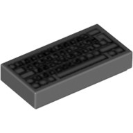 Dark Bluish Gray Tile 1 x 2 with Computer Keyboard Standard Pattern  4493478