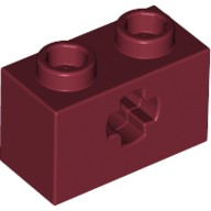 Dark Red Technic, Brick 1 x 2 with Axle Hole  4233492 or 4539059 or 6206250