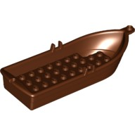 Reddish Brown Boat, 14 x 5 x 2 with Oarlocks without Hollow Inside Studs  6115714