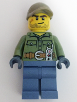 Volcano Explorer - Male, Shirt with Belt and Radio, Dark Tan Cap with Hole, Crooked Smile and Scar