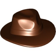 Reddish Brown Minifig, Headgear Hat, Wide Brim Outback Style (Fedora)  4520723 or 6042868