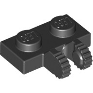 Black Hinge Plate 1 x 2 Locking with 2 Fingers on Side  4515340