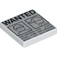 White Tile 2 x 2 with 'WANTED' Minifig Front and Side Mugshots Poster Pattern  6100585