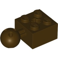 Dark Brown Technic, Brick Modified 2 x 2 with Ball and Axle Hole with 6 Holes in Ball  6045909