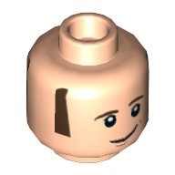 Light Flesh Minifig, Head Dual Sided Dark Brown Sideburns and Eyebrows, White Pupils with Lopsided / Open Smile Pattern (Howard Wolowitz) - Stud Recessed  6122911
