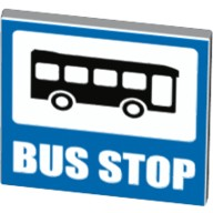 White Road Sign Clip-on 2 x 2 Square Open O Clip with Bus and 'BUS STOP' Pattern  6155407