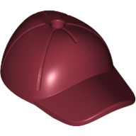 Dark Red Minifig, Headgear Cap - Short Curved Bill with Seams and Hole on Top  6102964