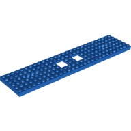 Blue Train Base 6 x 28 with 2 Square Cutouts and 3 Round Holes Each End  6058179
