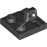 Black Hinge Plate 2 x 2 Locking with 1 Finger on Top  4613759