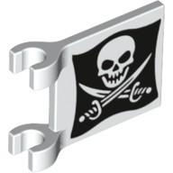 White Flag 6 x 4 with Skull with Crossed Cutlasses (Jolly Roger) Pattern on Both Sides  6097118