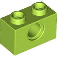 Lime Technic, Brick 1 x 2 with Hole  6132372