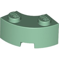 Sand Green Brick, Round Corner 2 x 2 Macaroni with Stud Notch and Reinforced Underside  6186082