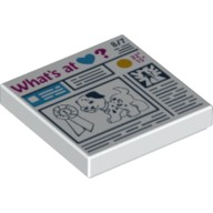White Tile 2 x 2 with Prize Ribbon, Dog and 'What's at Heart?' Newspaper Pattern  6115167