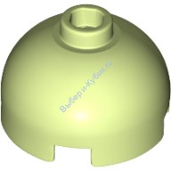 Yellowish Green Brick, Round 2 x 2 Dome Top - Blocked Open Stud with Bottom Axle Holder x Shape + Orientation  6056416